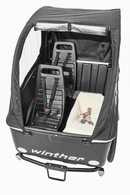 Winther Cargoo 2 Standardsitze + Weber Baby Sitz schwarz topview