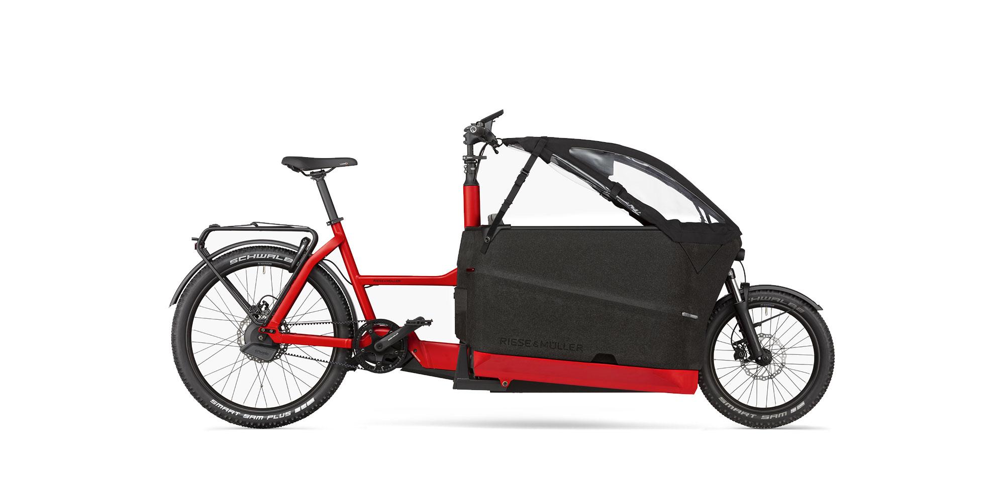 Riese Müller 2021 F00522 Packster 70 Enviolo Automatic Chilli Matt GX Nyon Kindersitz Kinderverdeck offen
