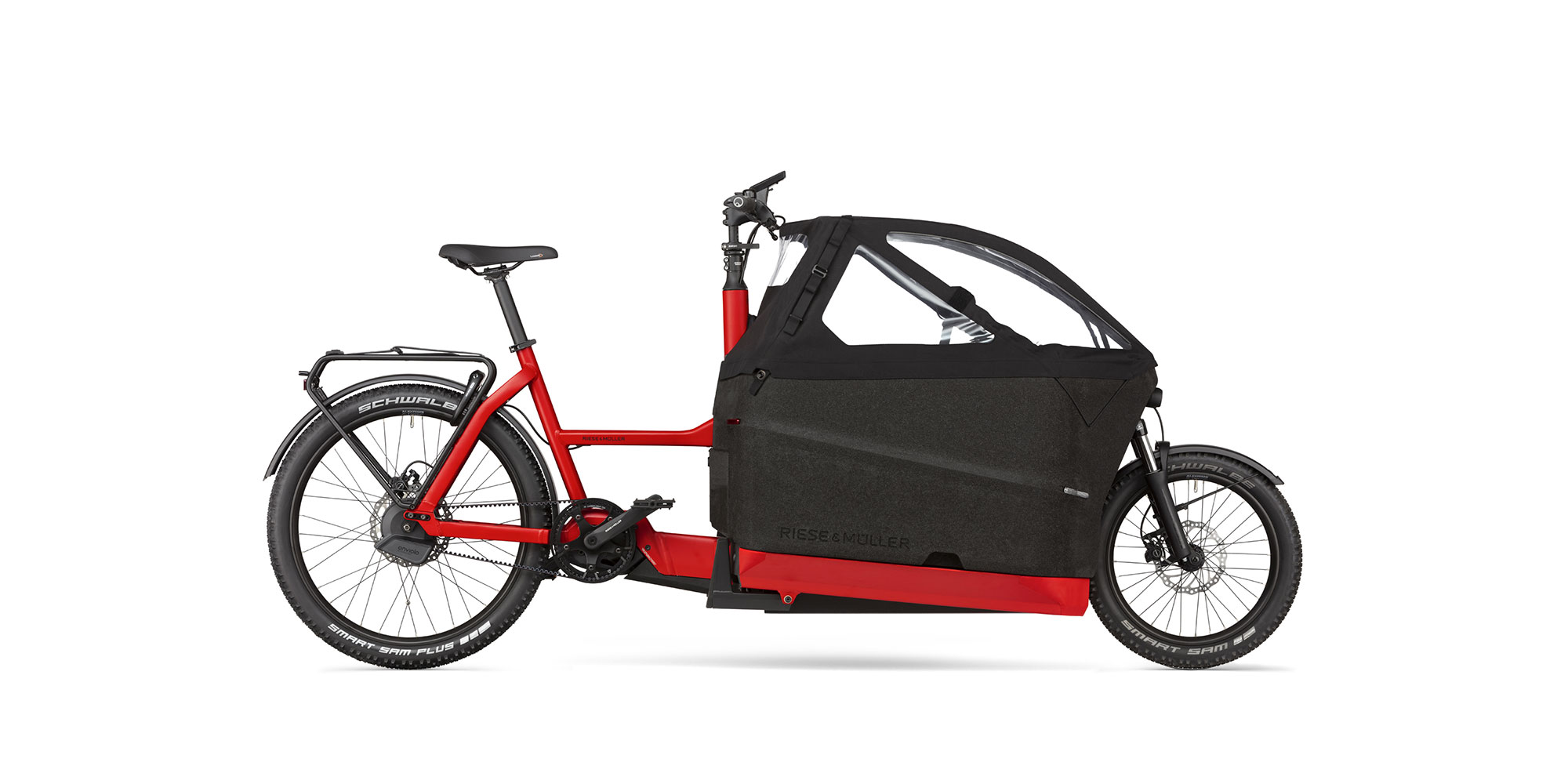 Riese Müller 2021 F00522 Packster 70 Enviolo Automatic GX Nyon Kindersitz Kinderverdeck geschlossen